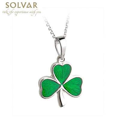 Irish Necklace - Sterling Silver and Green Enamel Shamrock Pendant with Chain