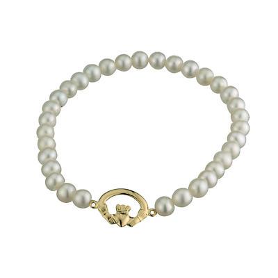 Claddagh Bracelet - Pearl and 14k Gold Claddagh Irish Bracelet