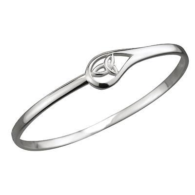 Celtic Bracelet - Sterling Silver Trinity Knot Tear Drop Bangle