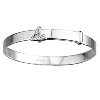 Irish Bracelet - Sterling Silver Celtic Trinity Knot Kids Bangle