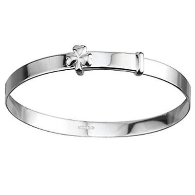 Irish Bracelet - Sterling Silver Shamrock Kids Bangle