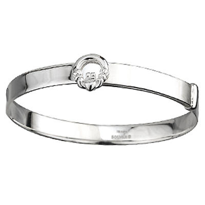 Irish Bracelet - Sterling Silver Claddagh Kids Bangle