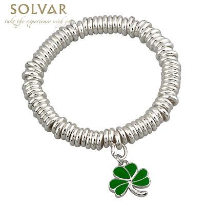 St Patricks Jewelry - Shamrock Silver Tone Irish Bracelet