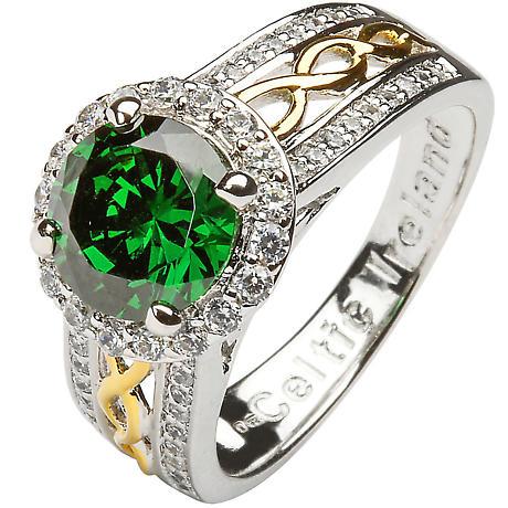 Irish Ring - Sterling Silver Green CZ Halo Ring