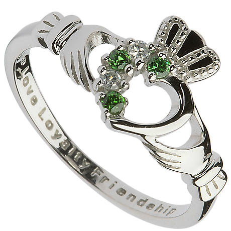Claddagh Ring - Ladies Sterling Silver Claddagh with Green and CZ Gemstones