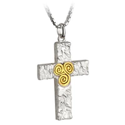 Celtic Pendant - Sterling Silver Two Tone Newgrange Cross Pendant with Chain