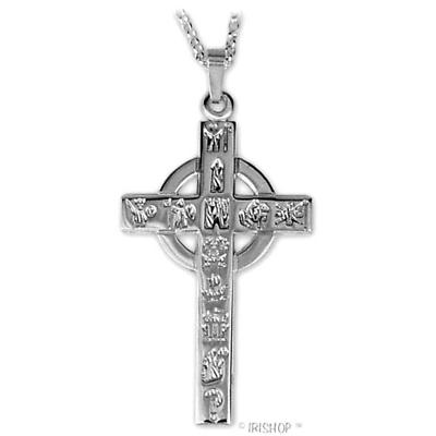 Irish Necklace - Sterling Silver History of Ireland Cross Pendant with Chain