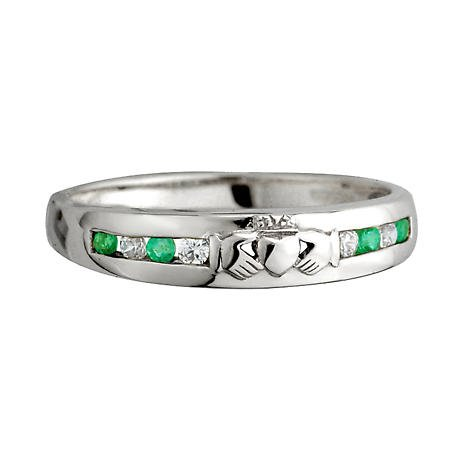 Claddagh Ring - Ladies 14k White Gold with 8 Diamonds and Emerald Claddagh