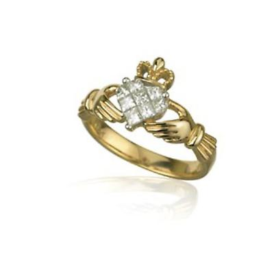 Claddagh Ring - Ladies 18k Gold and .5ct Diamond Claddagh