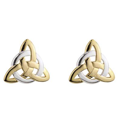 Celtic Earrings - 14k Two Tone Gold Fancy Celtic Trinity Knot Earrings