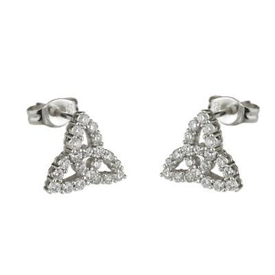 Celtic Earrings - 18k White Gold and Diamond Trinity Knot Earrings