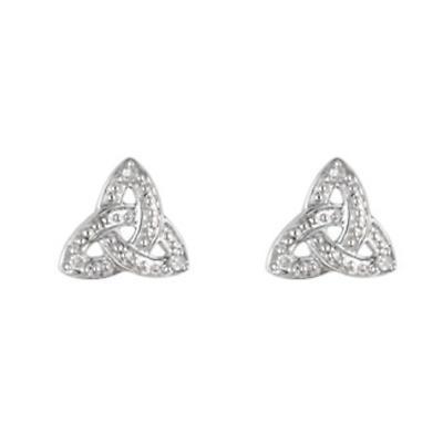 14k White Gold Diamond Trinity Knot Stud Earrings