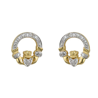 14K Gold Claddagh Earrings with Micro Diamonds
