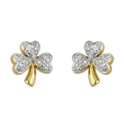 14k Gold and Micro Diamond Shamrock Earrings