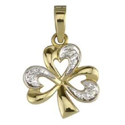 Irish Necklace - 14k Yellow Gold and Diamond Shamrock Pendant with Chain