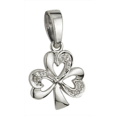 Irish Necklace - 14k White Gold and .015ct Diamonds Shamrock Pendant with Chain