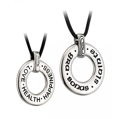 "Sterling Silver ""Love Health & Happiness"" Gaelic Pendant with Chain"