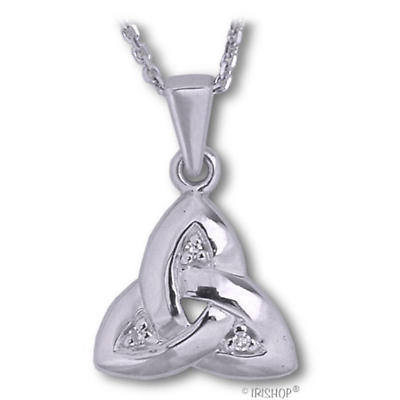 Celtic Pendant - 14k White Gold and Diamond Trinity Knot Pendant with Chain