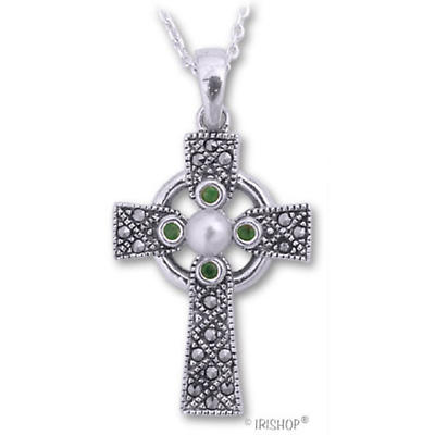 Celtic Pendant - Sterling Silver with Emerald and Pearl Marcasite Celtic Cross Pendant with Chain