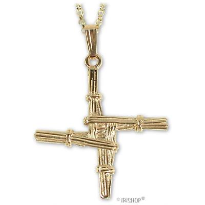 Irish Necklace - 10k Yellow Gold St Bridget's Cross Pendant with Chain