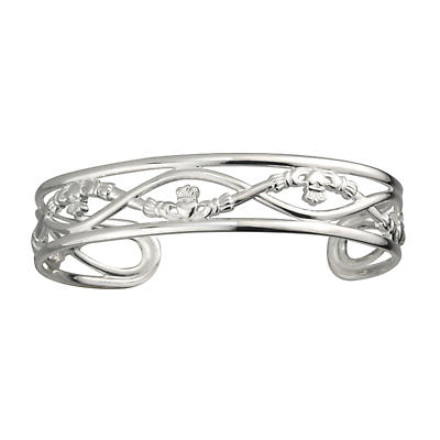 Claddagh Bracelet - Sterling Silver Claddagh Cuff Bangle