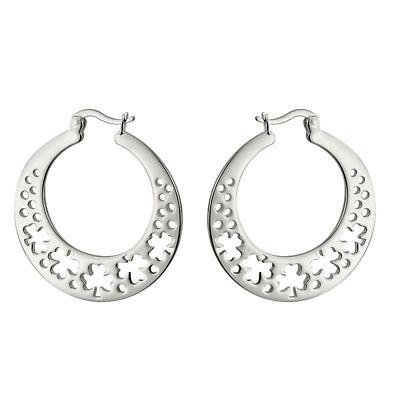 Sterling Silver Flat Shamrock Hoop Earrings
