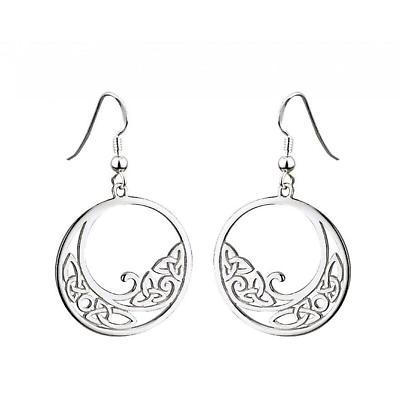 Celtic Earrings - Sterling Silver Flat Trinity Knot Earrings