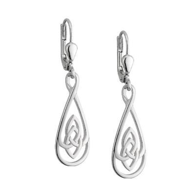 Celtic Earrings - Sterling Silver Flat Oval Trinity Knot Earrings