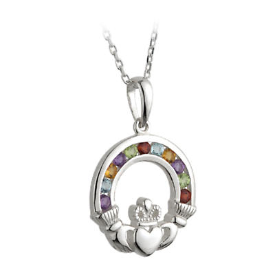 Irish Necklace - Sterling Silver and Semi Precious Stones Claddagh Pendant with Chain