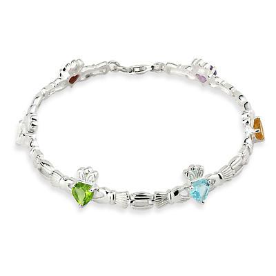 Sterling Silver Semi Precious Stones Claddagh Bracelet