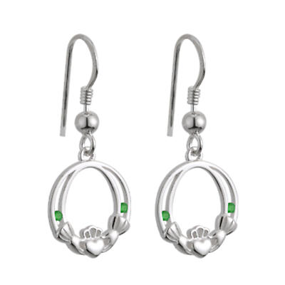 Sterling Silver Crystal Emerald Claddagh Earrings