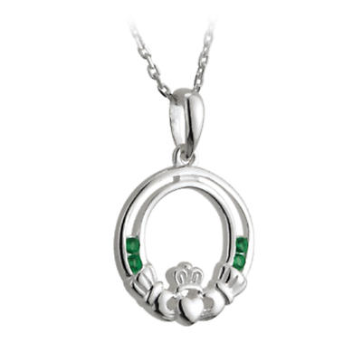 Irish Necklace - Sterling Silver and Green Crystals Claddagh Pendant with Chain