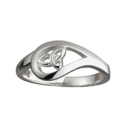 Trinity Knot Ring - Ladies Sterling Silver Tear Drop Trinity Knot