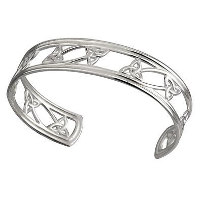 Celtic Bracelet - Sterling Silver Trinity Knot Cuff Bangle