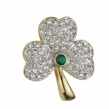 Irish Brooch - Shamrock Brooch Gold Plated with Green Crystals