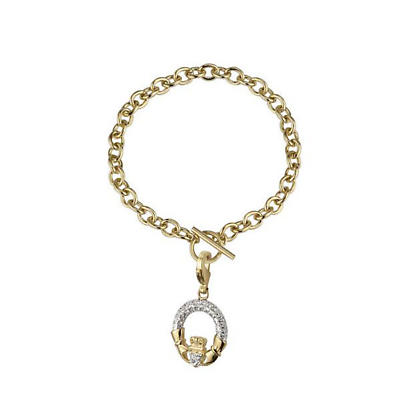 Irish Bracelet - 18k Gold Plated Crystal Claddagh Bracelet