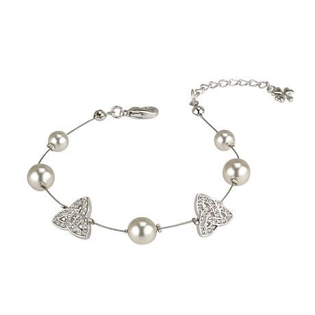 Irish Bracelet - Silver Plated Pearl & Trinity Knot Bracelet