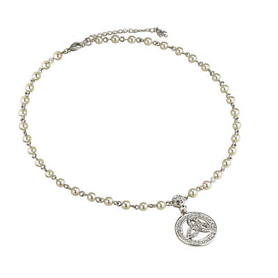 Irish Necklace - Pearl Silver Plated Crystal Trinity Knot Necklet