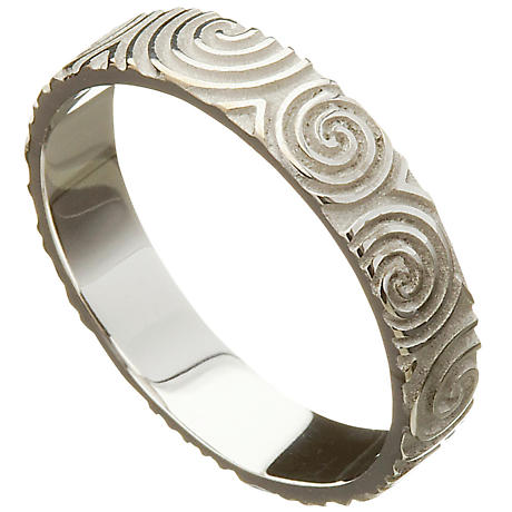 Irish Wedding Ring - Celtic Spirals Newgrange Ladies Wedding Band
