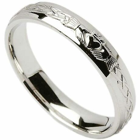 Irish Wedding Ring - Celtic Knot Claddagh Ladies Wedding Band