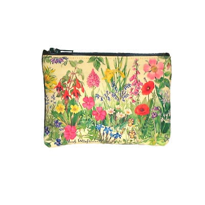 Leather Small Top Zip Purse - Wildflowers