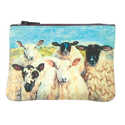 Leather Small Top Zip Purse - Irish Sheep