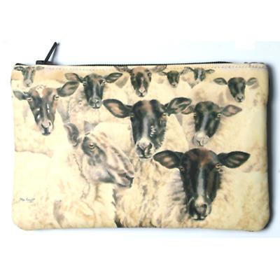 Leather Small Top Zip Purse - Irish Sheep