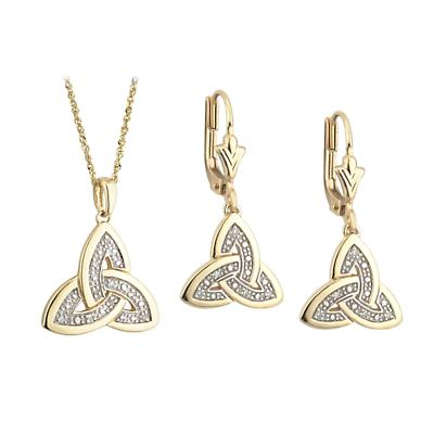 Celtic Jewelry Set- Trinity Knot Earrings and Pendant 14k Gold Diamond Set