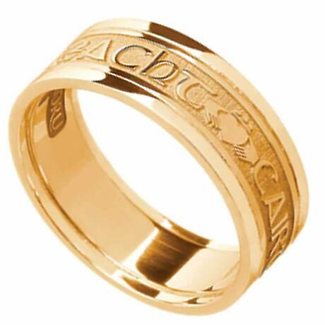 Irish Ring - Men's 14k Yellow Gold - Gra Dilseacht Cairdeas 'Love, Loyalty, Friendship' Symbols Irish Wedding Ring