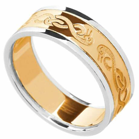 Celtic Ring - Men's Yellow Gold with White Gold Trim Le Cheile Wedding Ring