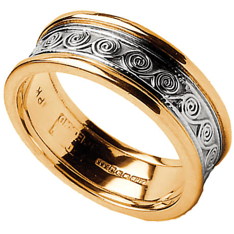 Celtic Ring - Men's White Gold with Yellow Gold Trim Celtic Spirals Wedding Ring