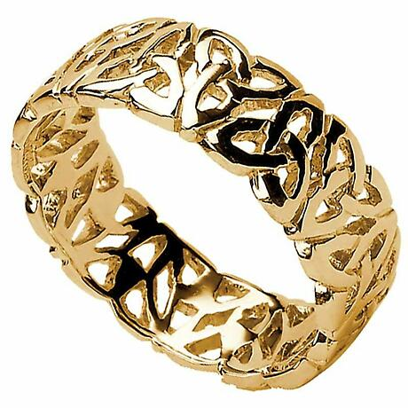 Trinity Knot Ring - Men's Trinity Knot Filigree Irish Wedding Ring