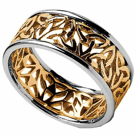 Trinity Knot Ring - Men's Yellow Gold with White Gold Trim Trinity Filigree Irish Wedding Ring