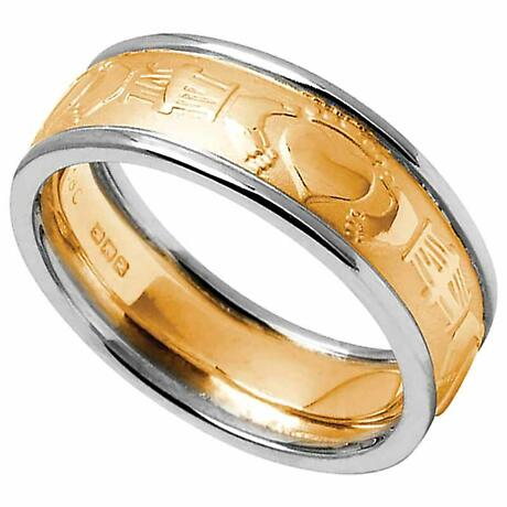 Claddagh Ring - Ladies Yellow Gold with White Gold Trim Claddagh Court Wedding Band